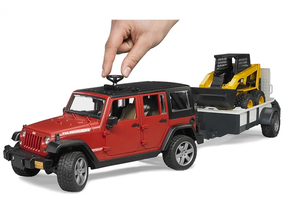 Bruder JEEP Wrangler Unlimited Rubicon with one axle trailer and Cat skid  steer loader